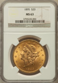Liberty Double Eagles: , 1895 $20 MS63 NGC. NGC Census: (3275/498). PCGS Population(1709/244). Mintage: 1,114,656. Numismedia Wsl. Price for proble...