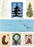 Movie/TV Memorabilia:Autographs and Signed Items, An Orson Welles Collection of 'Christmas Tree' HandpaintedChristmas Cards, 1950s....