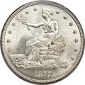 Trade Dollars, 1877 T$1 MS65 PCGS. CAC....