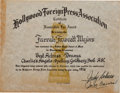 "Movie/TV Memorabilia:Awards, A Farrah Fawcett Hollywood Foreign Press Association (Golden Globe)Certificate of Nomination for ""Charlie's Angels.""..."