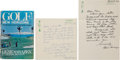 Golf Collectibles:Autographs, 1980's-90's Gene Sarazen Signed Letters (2) & Book for FormerCaddy....