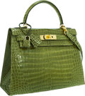 Luxury Accessories:Bags, Hermes 28cm Shiny Vert Jasmine Porosus Crocodile Sellier Kelly Bagwith Gold Hardware. ...