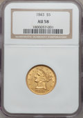 Liberty Half Eagles: , 1843 $5 AU58 NGC. NGC Census: (130/72). PCGS Population (29/27).Mintage: 611,205. Numismedia Wsl. Price for problem free N...