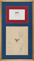 Golf Collectibles:Miscellaneous, 1969 Personally Created 1969 Ryder Cup Memento Signed By Both Team from The Sam Snead Collection....