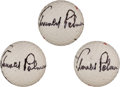 Golf Collectibles:Autographs, 1970's Arnold Palmer Signed Golf Balls Lot of 3....