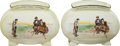 Golf Collectibles:Ceramics/Glass, Early 1900's Royal Doulton Ceramic Golf Vessels Lot of 2. ...