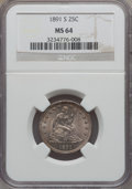 Seated Quarters: , 1891-S 25C MS64 NGC. NGC Census: (58/14). PCGS Population (33/21).Mintage: 2,216,000. Numismedia Wsl. Price for problem fr...