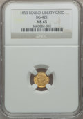 California Fractional Gold, 1853 50C Liberty Round 50 Cents, BG-421, R.4, MS65 NGC....