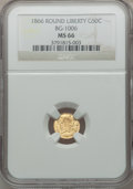 California Fractional Gold, 1866 50C Liberty Round 50 Cents, BG-1006, R.5, MS66 NGC....