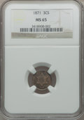 Three Cent Silver, 1871 3CS MS65 NGC....