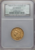 Classic Half Eagles: , 1834 $5 Plain 4 -- Improperly Cleaned -- NCS. AU Details. NGCCensus: (138/1267). PCGS Population (154/490). Mintage: 657,4...