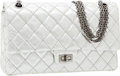 Luxury Accessories:Bags, Chanel Silver Lambskin Leather Medium Double Flap Bag with Gunmetal Hardware . ...