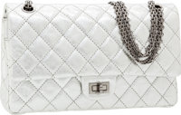 Chanel Silver Lambskin Leather Medium Double Flap Bag with Gunmetal Hardware