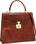 Luxury Accessories:Bags, Gucci Shiny Cognac Crocodile Top Handle Bag with Gold Hardware. ...