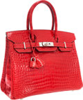 Luxury Accessories:Bags, Hermes 30cm Shiny Braise Porosus Crocodile Birkin Bag with Palladium Hardware. ...
