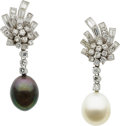 Estate Jewelry:Earrings, South Sea Cultured Pearl, Diamond, Platinum Earrings. ...