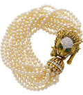 Estate Jewelry:Bracelets, Diamond, Emerald, Cultured Pearl, Gold Bracelet. ...