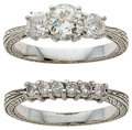 Estate Jewelry:Rings, A DIAMOND, WHITE GOLD RING SET. ...