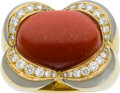 Estate Jewelry:Rings, Coral, Diamond, Mother-of-Pearl, Gold Ring. ...