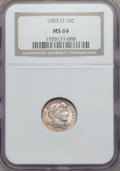Barber Dimes: , 1903-O 10C MS64 NGC. NGC Census: (29/6). PCGS Population (29/15). Mintage: 8,180,000. Numismedia Wsl. Price for problem fre...