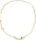Estate Jewelry:Necklaces, Ruby, Freshwater Cultured Pearl, Gold Necklace, Rena Koopman. ...