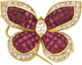 Estate Jewelry:Brooches - Pins, Ruby, Diamond, Gold Pendant-Brooch. ...