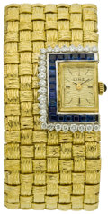 Estate Jewelry:Watches, Swiss Lady's Diamond, Sapphire, Gold Wristwatch, retailed by Linz....