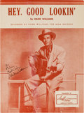 Music Memorabilia:Autographs and Signed Items, Hank Williams Signed Piece of Sheet Music....