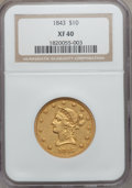 Liberty Eagles: , 1843 $10 XF40 NGC. NGC Census: (16/130). PCGS Population (20/58).Mintage: 75,462. Numismedia Wsl. Price for problem free N...