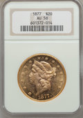 Liberty Double Eagles: , 1877 $20 AU58 NGC. NGC Census: (219/614). PCGS Population(134/461). Mintage: 397,670. Numismedia Wsl. Price for problemfr...