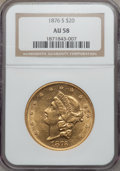 Liberty Double Eagles: , 1876-S $20 AU58 NGC. NGC Census: (2194/1743). PCGS Population(688/1410). Mintage: 1,597,000. Numismedia Wsl. Price for pro...