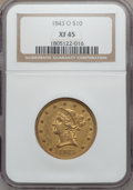 Liberty Eagles: , 1843-O $10 XF45 NGC. NGC Census: (69/247). PCGS Population (63/71).Mintage: 175,162. Numismedia Wsl. Price for problem fre...