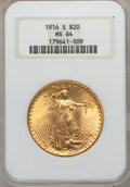 Saint-Gaudens Double Eagles: , 1916-S $20 MS64 NGC. NGC Census: (1407/933). PCGS Population(1612/1274). Mintage: 796,000. Numismedia Wsl. Price for probl...