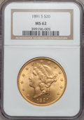 Liberty Double Eagles: , 1891-S $20 MS62 NGC. NGC Census: (1870/531). PCGS Population(1762/869). Mintage: 1,288,125. Numismedia Wsl. Price for prob...