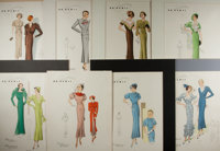 """[Fashion Illustration] Lot of Eight Color Illustrations of French Women's Fashion. 11.25"""" x 15.25"""", seven exam..."""