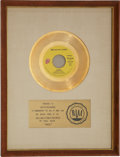"Music Memorabilia:Awards, The Rolling Stones RIAA Gold Record White Mat Award for ""Angie.""..."