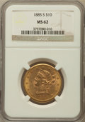 Liberty Eagles: , 1885-S $10 MS62 NGC. NGC Census: (216/50). PCGS Population(257/89). Mintage: 228,000. Numismedia Wsl. Price for problem fr...