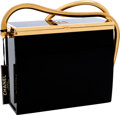 Luxury Accessories:Bags, Chanel Black & Gold Lucite Box Evening Bag with Cable ShoulderStrap. ...
