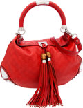 Luxury Accessories:Bags, Gucci Red Embossed Guccissima Leather Indy Hobo Bag with BambooAccents. ...