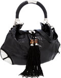 Luxury Accessories:Bags, Gucci Shiny Black Python Indy Hobo Bag with Suede Tassels andBamboo Detail. ...