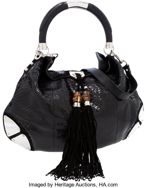 3d45f523185799 ... Luxury Accessories:Bags, Gucci Shiny Black Python Indy Hobo Bag with  Suede Tassels andBamboo ...