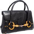 Luxury Accessories:Bags, Gucci by Tom Ford Important Shiny Black Alligator Large HorsebitBag with Signature Crystal & Enamel Dragon Closure. ...