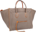 Luxury Accessories:Bags, Celine Limited Edition Large Gray Phantom Luggage Tote Bag with Neon Fluo Orange Trim . ...