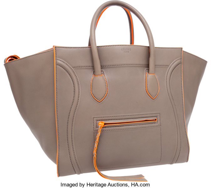 c12c18e2b99 ... Luxury Accessories Bags, Celine Limited Edition Large Gray Phantom Luggage  Tote Bag withNeon Fluo ...