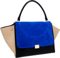 Luxury Accessories:Bags, Celine Blue, Black & Beige Suede and Leather Trapeze Bag. ...