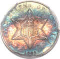 Three Cent Silver, 1862/1 3CS MS67 PCGS. CAC. FS-301....
