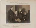 Autographs:Artists, The Flonzaley Quartet Inscribed Photograph Signed by All FourMembers. Founded in New York in 1902, this silver gelatin prin...