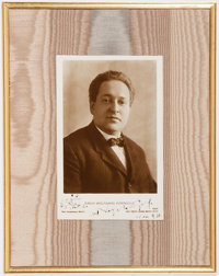 """Erich Wolfgang Korngold Photograph and Musical Quote Signed. Measuring 3.5"""" x 5.5"""", the composer, born in Aust..."""