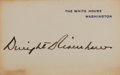 "Autographs:U.S. Presidents, Dwight Eisenhower White House Card Signed. Measuring 4"" x 2.5"", the card shows some areas of toning around the edges.. ..."