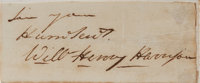 "William Henry Harrison Clipped Signature. Removed from a larger document and tipped onto a 4"" x 1.5"" backing b..."